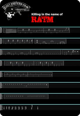 Tablatura guitarra killing in the name of Rage Against the Machine