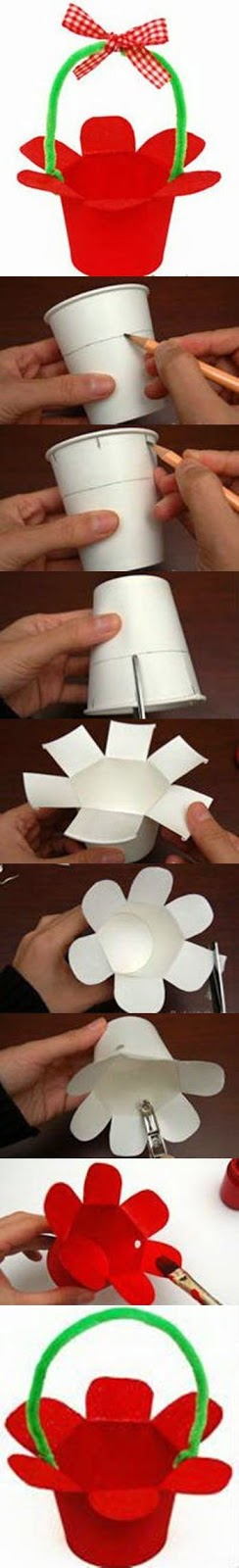 Handmade Paper Baskets Step By Step : Innovative arts how to make paper cup basket step by