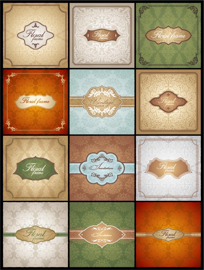 古典的なパターンを用いた背景 classic pattern cards background イラスト素材