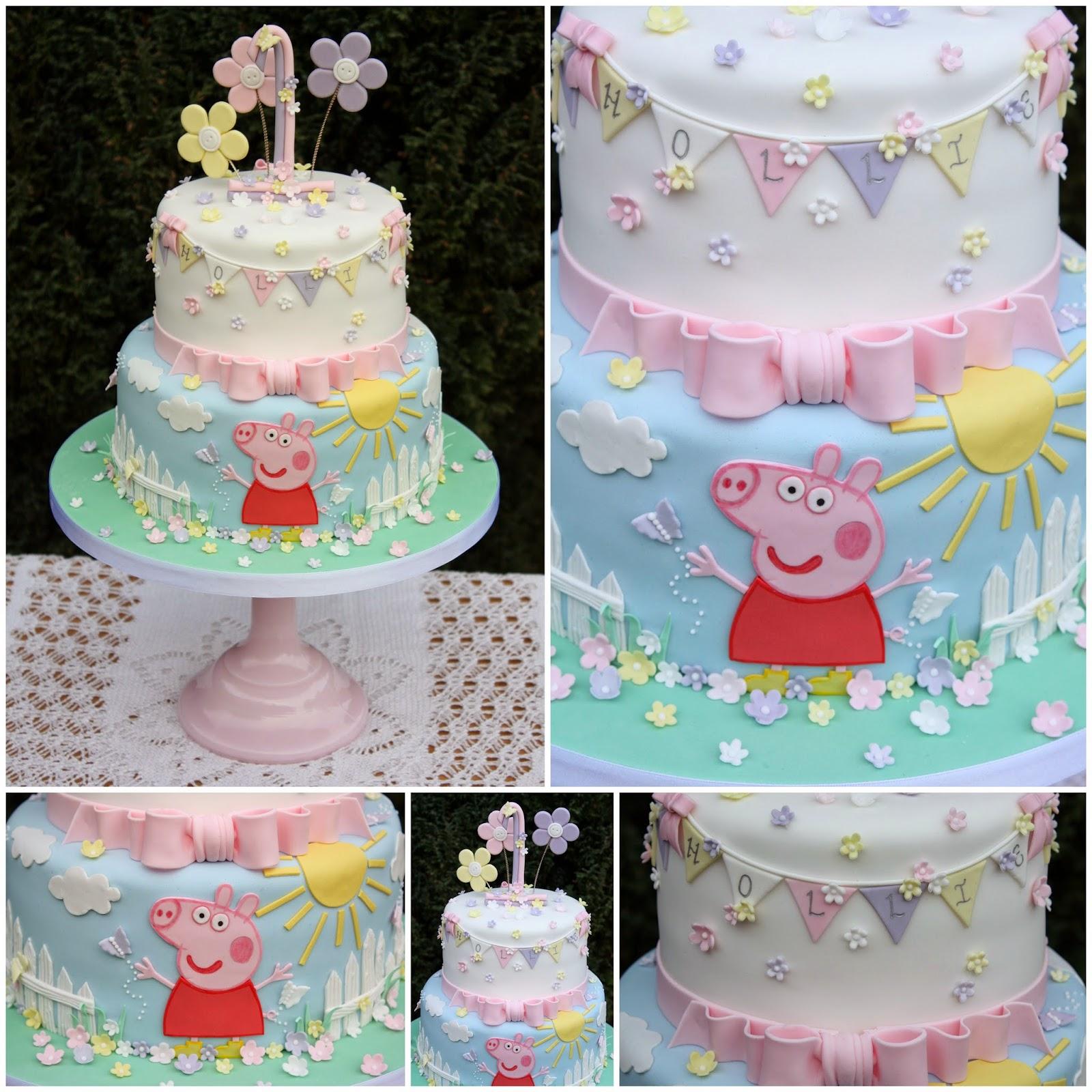 Tiers Tiaras Hollies Peppa Pig 1st Birthday Cake