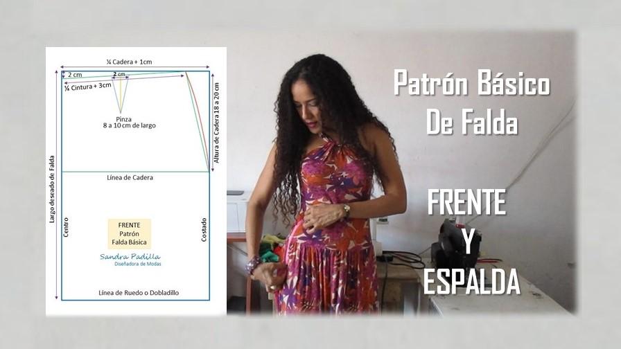 Aprende con SANDRA PADILLA : Patrón Básico de FALDA