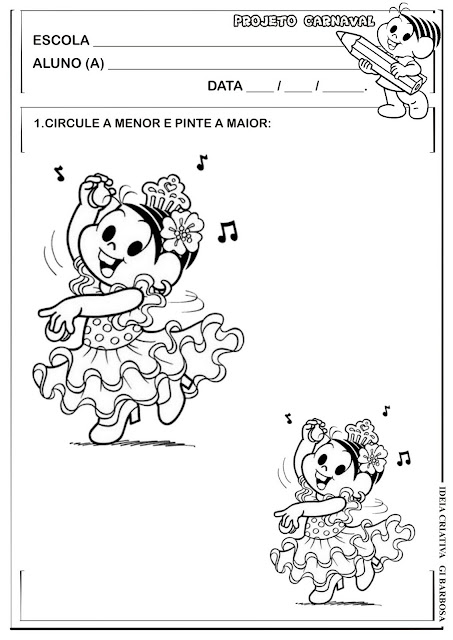Atividade Projeto Carnaval Turma da Mônica