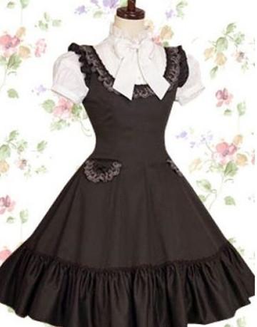 Black and White Lace Classic Lolita Dress