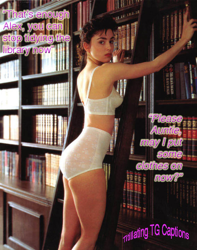 TG captions feminized librarian