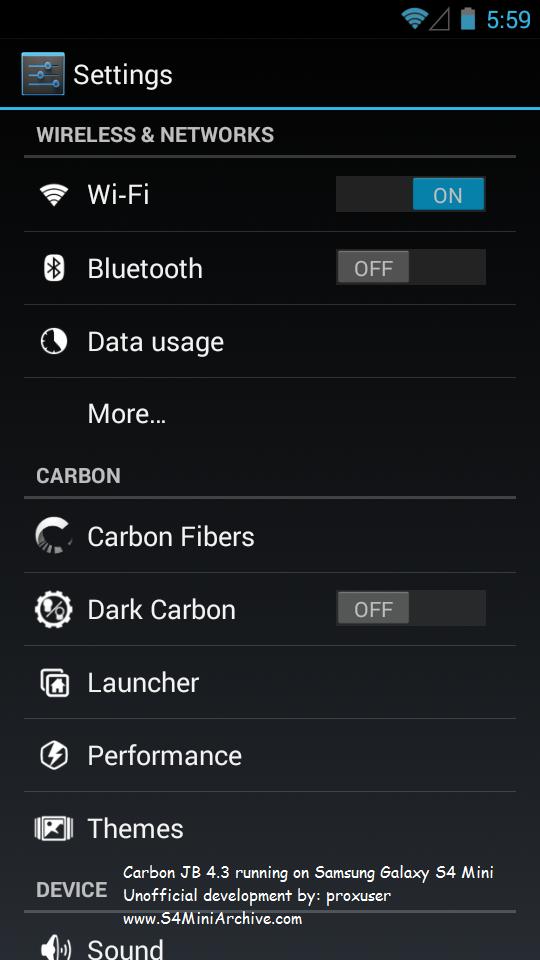 Carbon JB ROM for Samsung Galaxy S4 Mini LTE and 3G - Galaxy S4 Mini