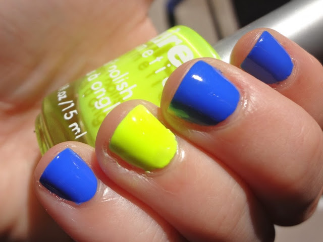 Claire's Sunshine neon yellow nail polish with Sally Hansen Pacific Blue