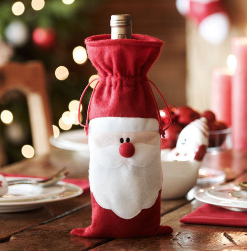 Xmas Santa Claus Red Wine Bottle Cover photos
