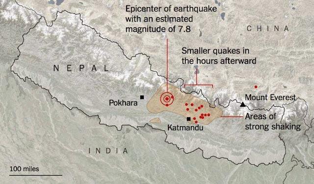Big map of Earthquake in Nepal