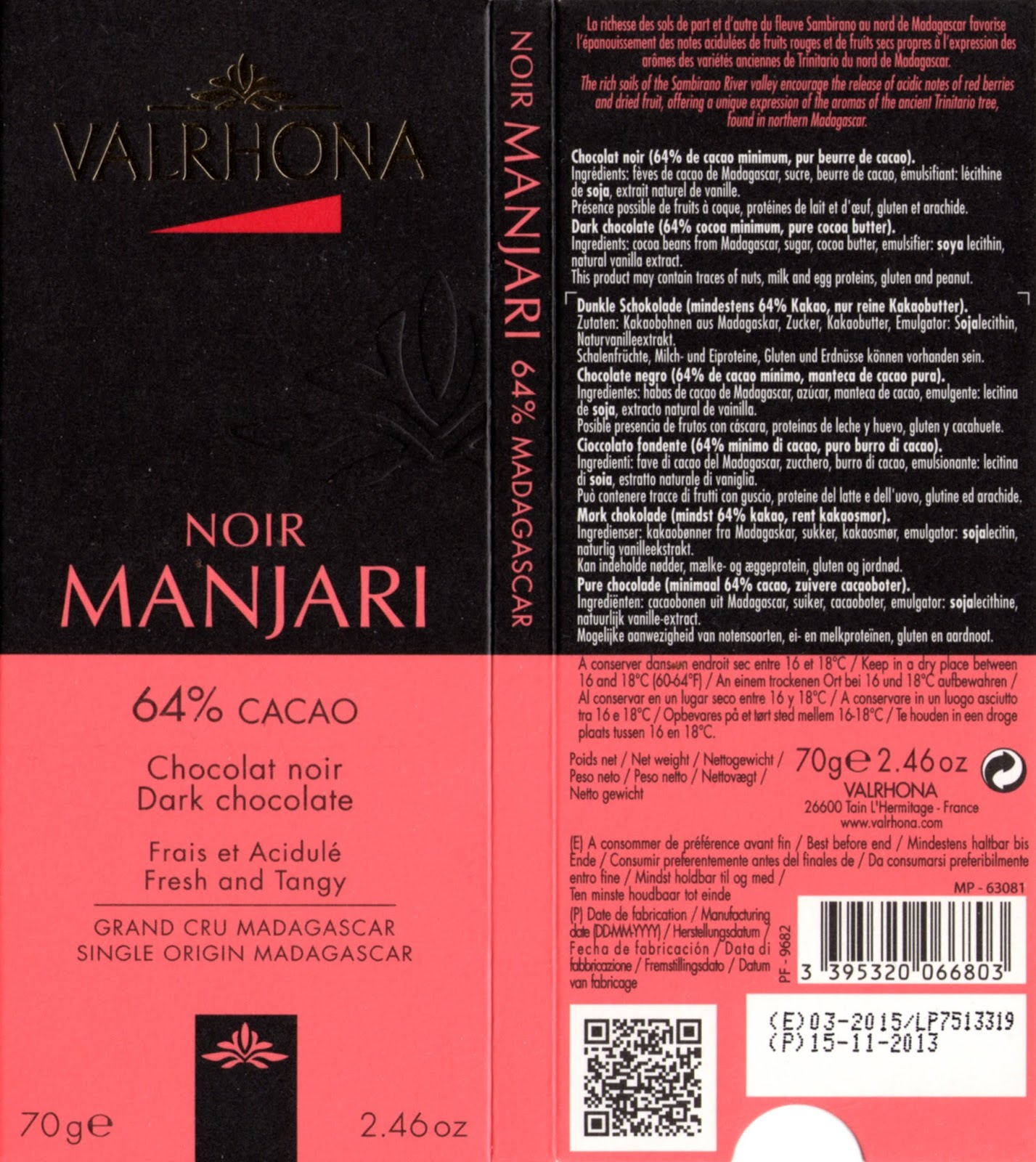 tablette de chocolat noir dégustation valrhona noir manjari 64