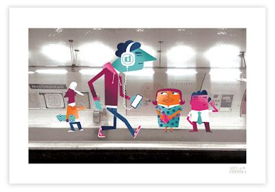 Alex Formika illustration métro RATP Ménilmontant