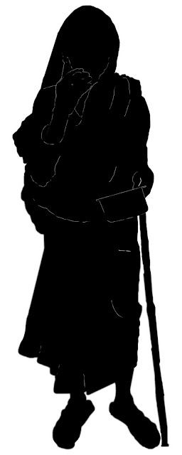 silhouette of old woman beggar
