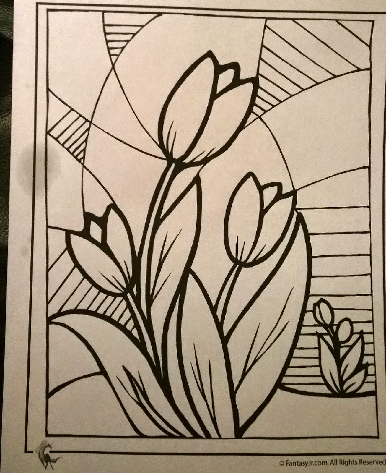 Color zentangles online - First I Found A Drawing I Liked Online And Printed It This Drawing Of Tulips And A Stained Glass Background Had A Zentangle Feel To It