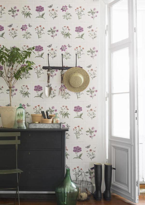 Decoraci n f cil papel pintado con flores de botanica - Papel vinilico para cocinas leroy merlin ...