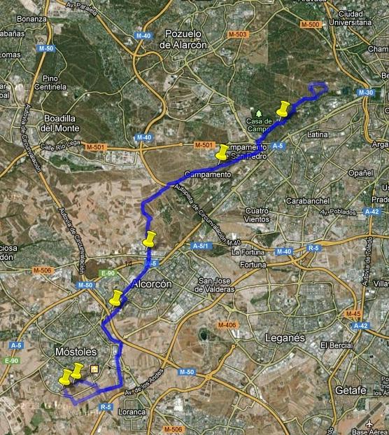 Mtb mostoles sur rutas realizadas - Camino a casa fuenlabrada ...