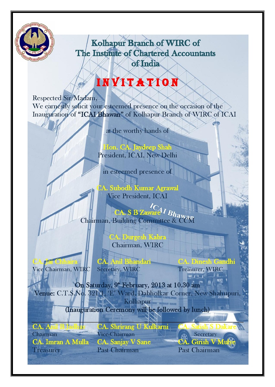 Kolhapur Branch Of Wirc Of Icai Invitation Of Inauguration Of