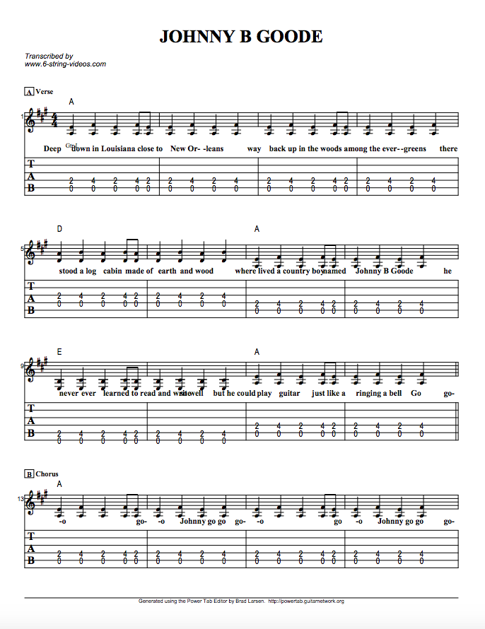 Guitar Tabs: Tabs And Song Sheet For: Johnny B Goode