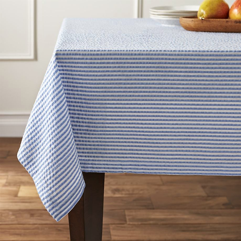Charmant Blue Seersucker Tablecloth Is A Classic Look For Easter. (Crate And Barrel)