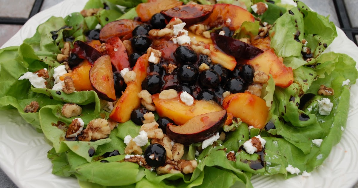 ... Sauteed Summer Fruits over Greens with Goat Cheese and Balsamic