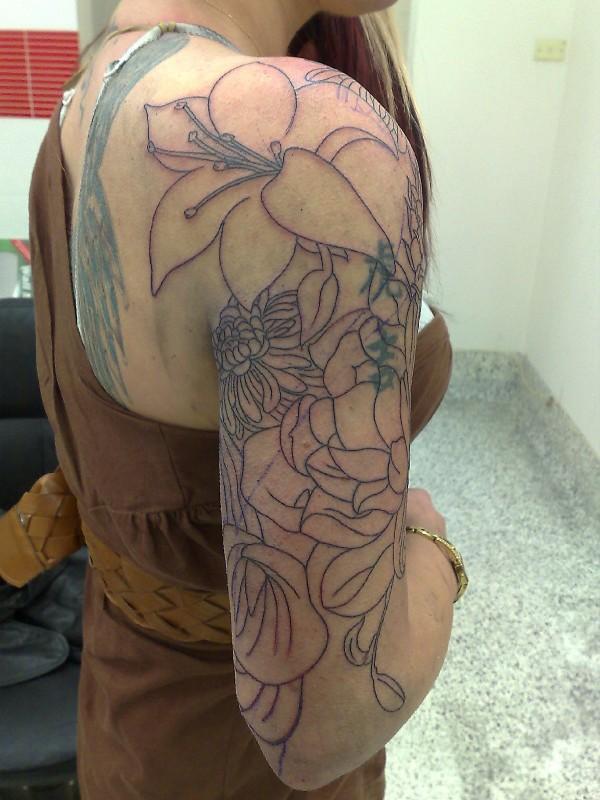 Flower Tattoo Half Sleeve