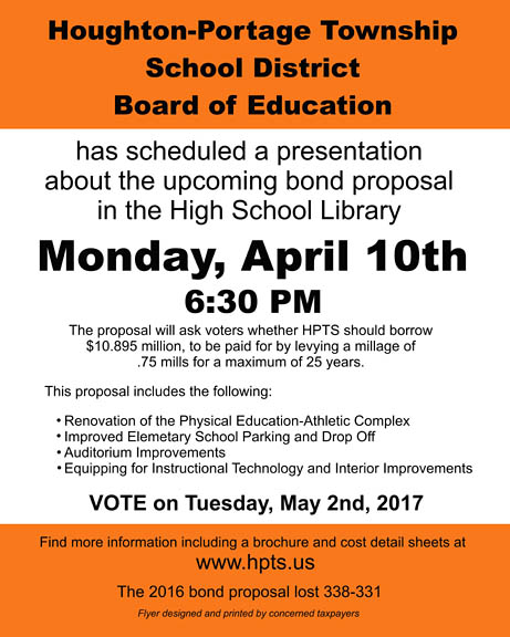 Houghton-Portage Township School District presentation Apr. 10