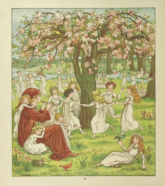 Imagen del flautista de Hamelín con este tocando y los niños bailando alrededor de un árbol