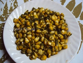 sweet corn in green masala ... a useful multipurpose paste..