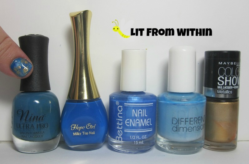 Bottle shot:  Nina Ultra Pro Blue La La, Hope Girl BL03, Bettina Gems Sapphire, Different Dimension Dewing It Right, and Maybelline Bold Gold.