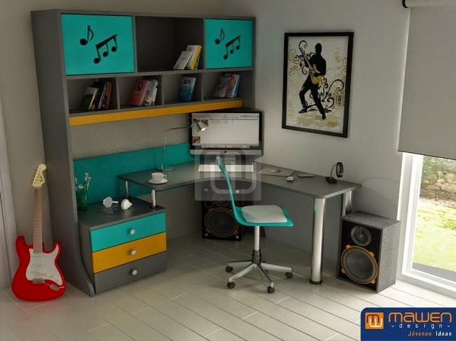 Escritorios con dise os musicales para juveniles - Muebles esquineros modernos ...