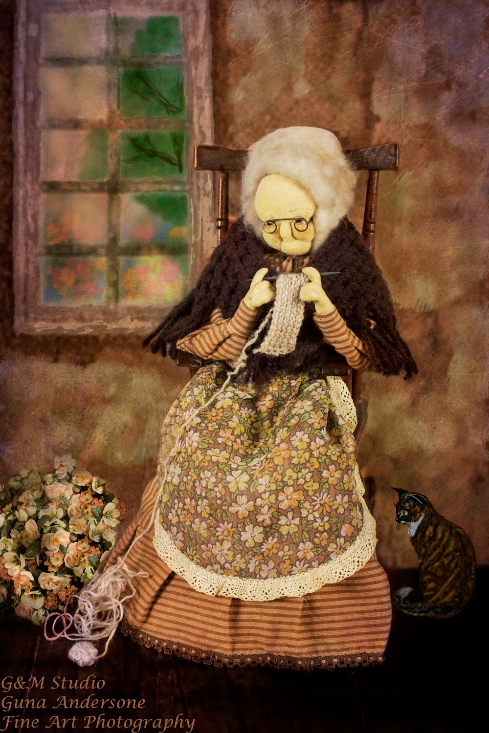 gunadesign guna andersone doll granny in rocking chair