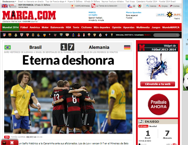 El diario Marca tituló: Eterna deshonra