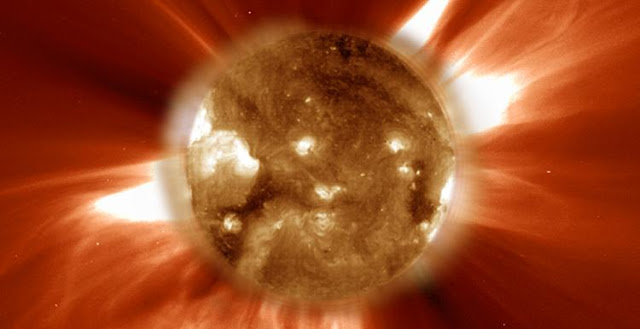 A coronal mass ejection captured by the sun-orbiting Solar & Heliospheric Observatory (SOHO) in February 2007. SOHO is an international collaboration between the European Space Agency and NASA to study the sun from its deep core to the outer corona and the solar wind. Image credit: SOHO Consortium, ESA, NASA