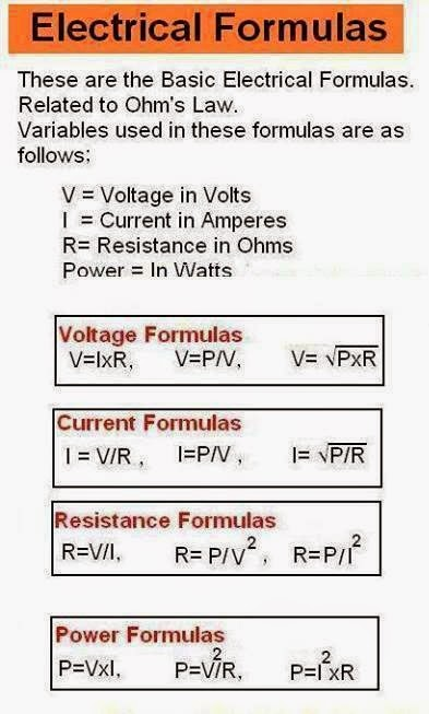 basic electrical formulas related to ohm u0026 39 s law