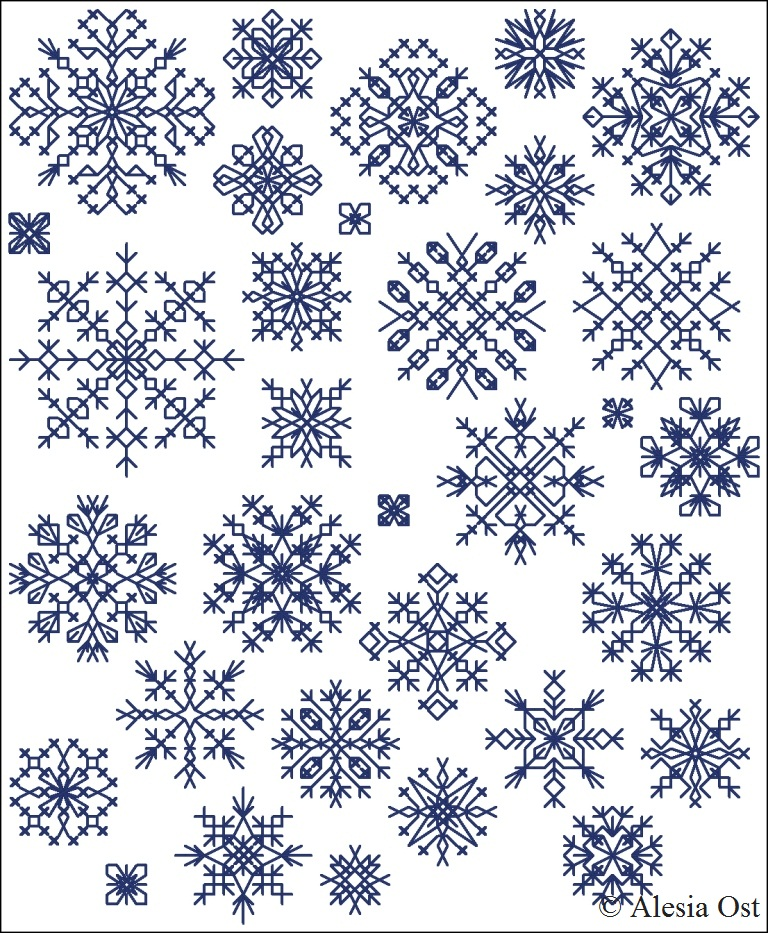 Free cross-stitch patterns, Inimitable Snowflakes, snowflake, winter ...