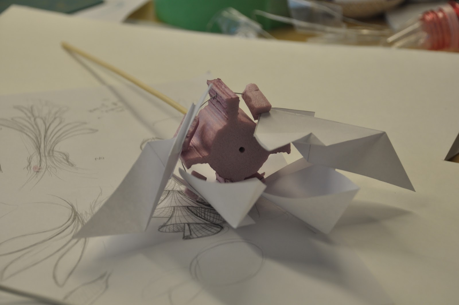 To Achieve Lift Based On Centrifugal Force, We Experimented With  Cardboard/paper Blades Attached To A Styrofoam Hinges.