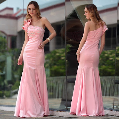 Pink One Shoulder Floor Length Dress