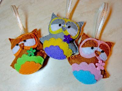 игрушки из фетра, новогодние игрушки, сова из фетра