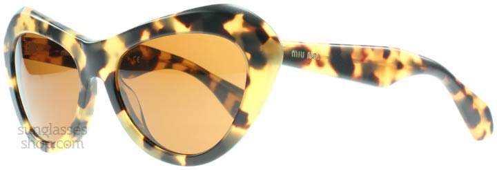 517b81b245 A great statement pair of sunglasses by Miu Miu  attention grabbing in both  their cat eye-esque shape and their bold tortoiseshell print.