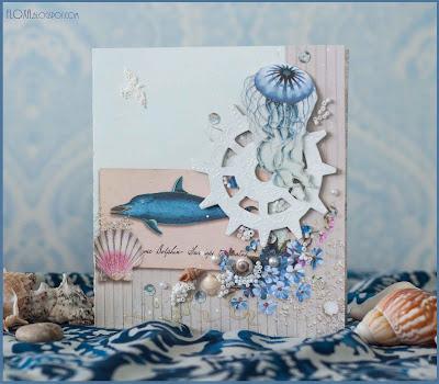 море чайка открытка скрап на заказ