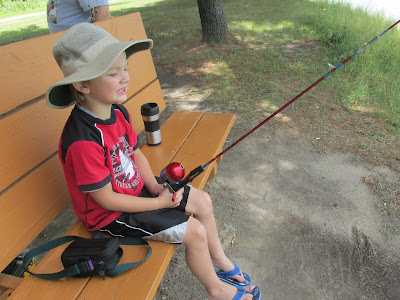 Grandson fishing at the lake