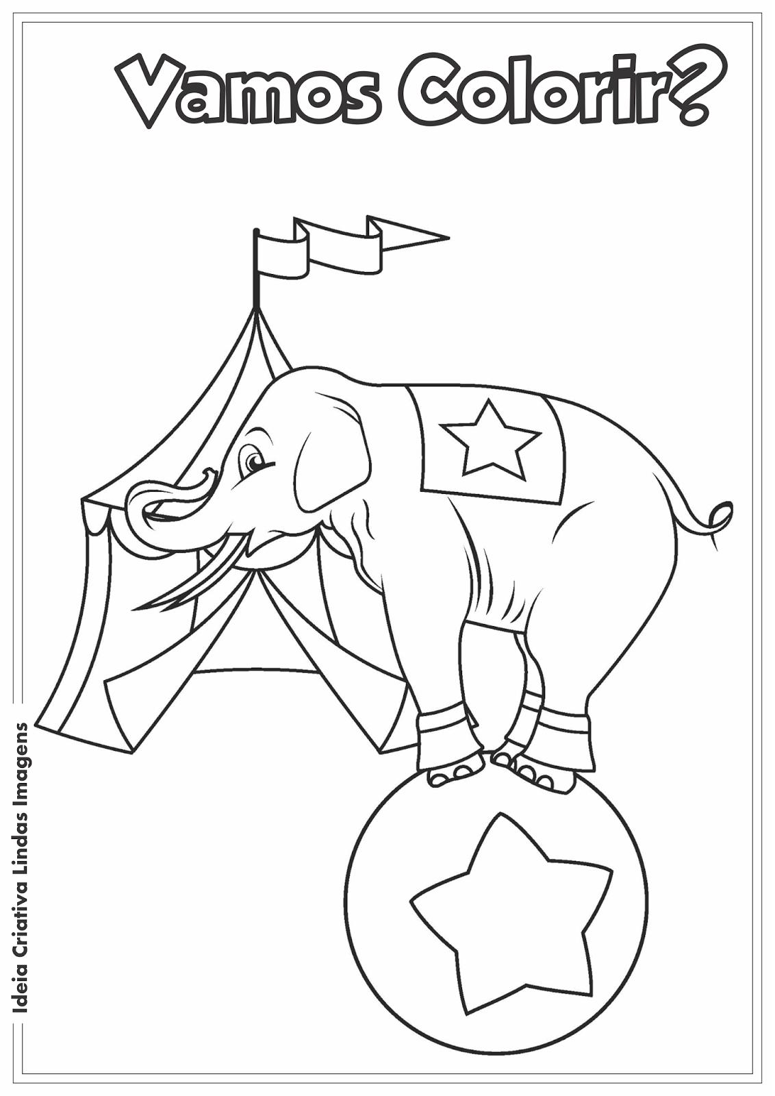 Dia do Circo - Elefante desenho para colorir