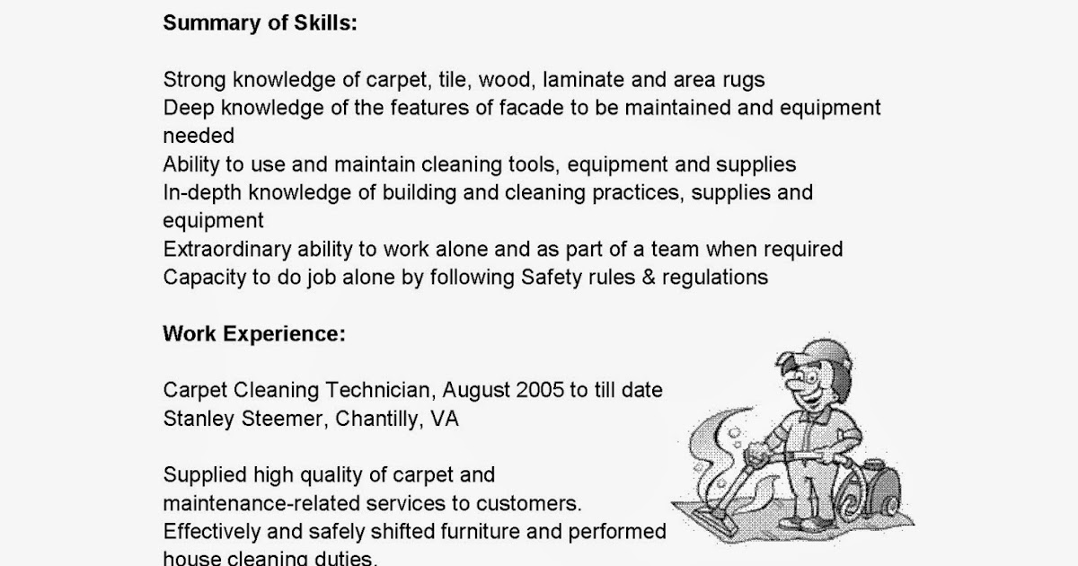 Resume Samples Carpet Cleaning Technician Resume Sample