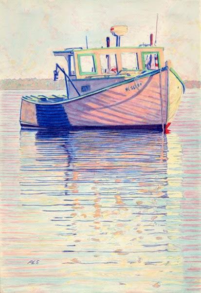 "Lobster Boat ""Sarah Louise"" Belfast Harbor 7"" x 10"" - After"