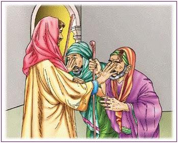 Resultado de imagem para Então Jesus tocou nos olhos deles,