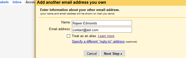AOL email address within Gmail