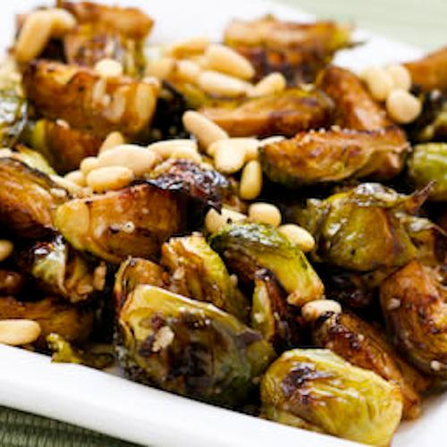 Roasted Brussels Sprouts with Balsamic, Parmesan, and Pine Nuts.