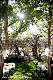 outdoor wedding ceremony site with trees