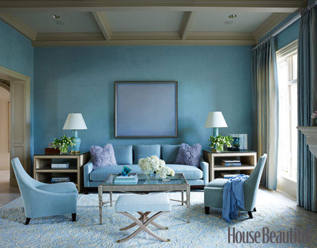 Blue is a restful color hence if you wanted to create an exciting vibrant feeling blue would not work. Here the color enhances a relaxed and calm space. : monochromatic-color-scheme-room - designwebi.com
