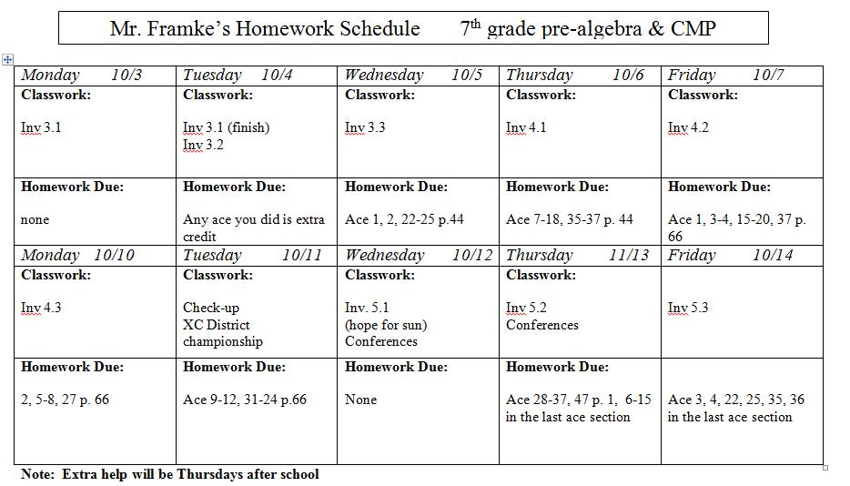 slavens 7th grade math  homework assignment sheet oct 3 to