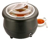 Oala pentru supa Bain-marie 'Hendi' - 8 litri, neagra, cu corpul din plastic, parte interioara din otel inoxidabil si capac din policarbonat, cu setarea continua a temperaturii pana la 85°C,  Ø 360x(H)360 mm., 230 V, 400 W