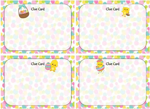 easter egg hunt clue card printable easter board game free
